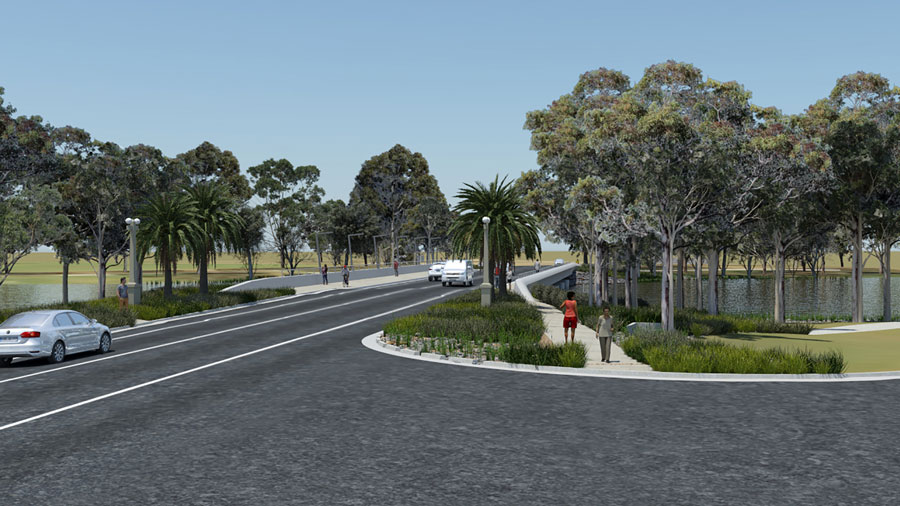 Visualisation of the new Camp Street Bridge, looking north-west