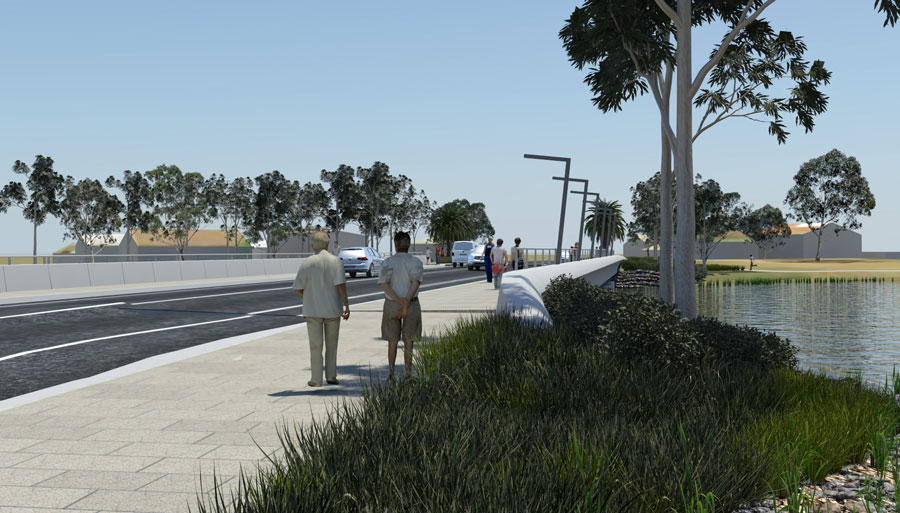 Visualisation of the new Camp Street Bridge, looking south-east. The new bridge will feature generou