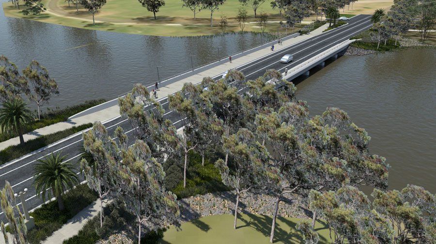 Visualisation of the new Camp Street Bridge, looking north-west. The new bridge will feature generou