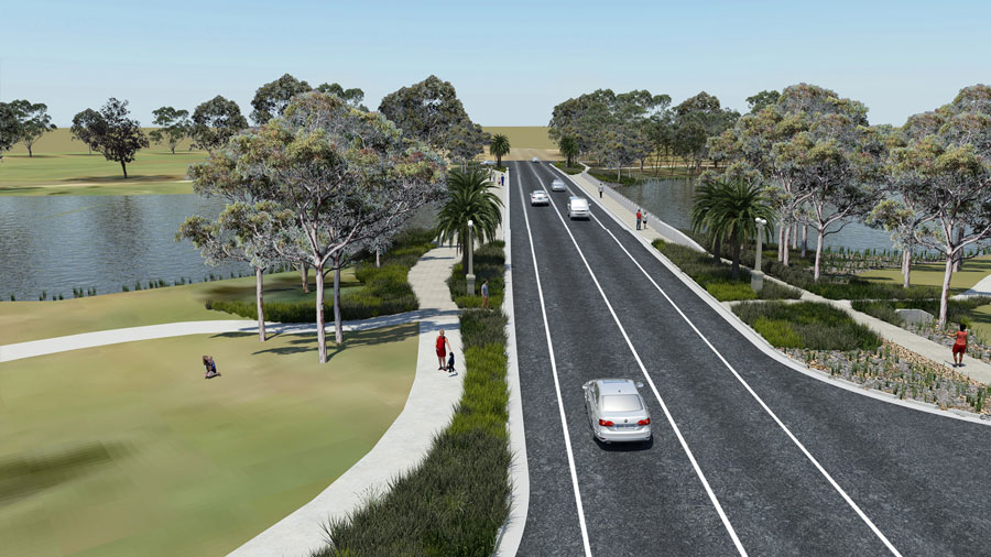 Visualisation of the new Camp Street Bridge, looking north-west. The new bridge will be wider than t