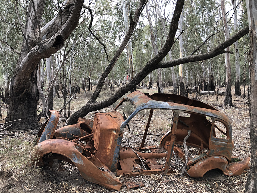 Old red gum sawmill site old car body - June 2019