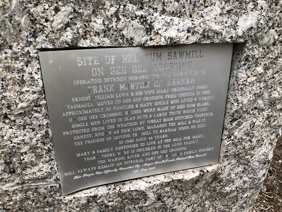 Old red gum sawmill site - plaque - June 2019