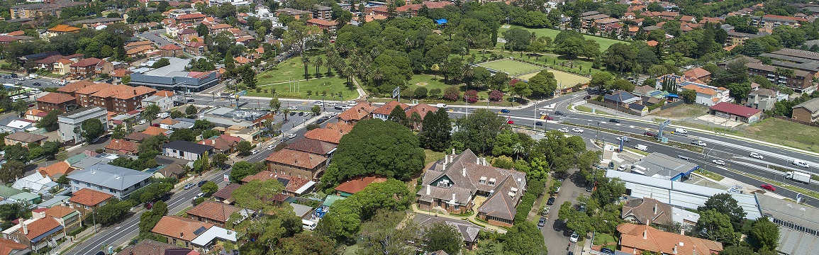 Aerial view of Haberfield, Ashfield and Leichhardt