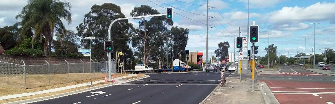 Completed intersection at Hoxton Park Road and Hill Road, Lurnea