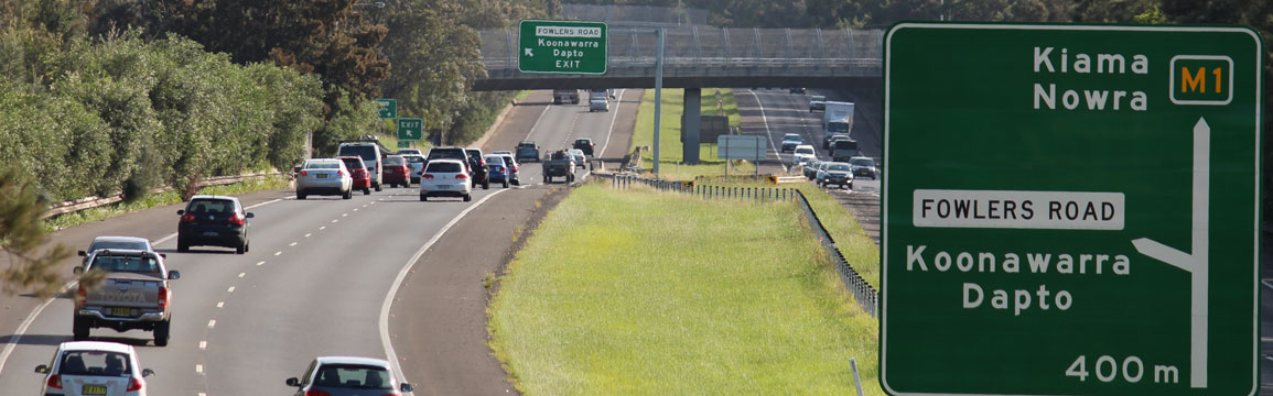 M1 Princes Motorway between Figtree and Dapto