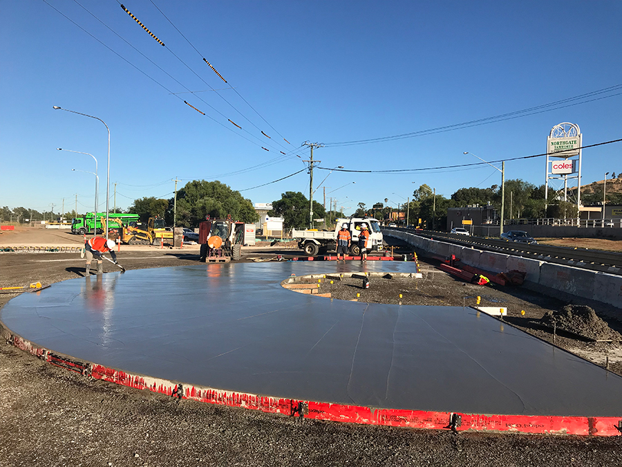 First concrete pour on the new Marius Street roundabout
