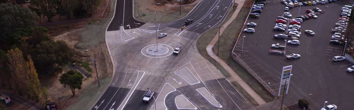 Aerial view of the new roundabout at the Marius Street intersection