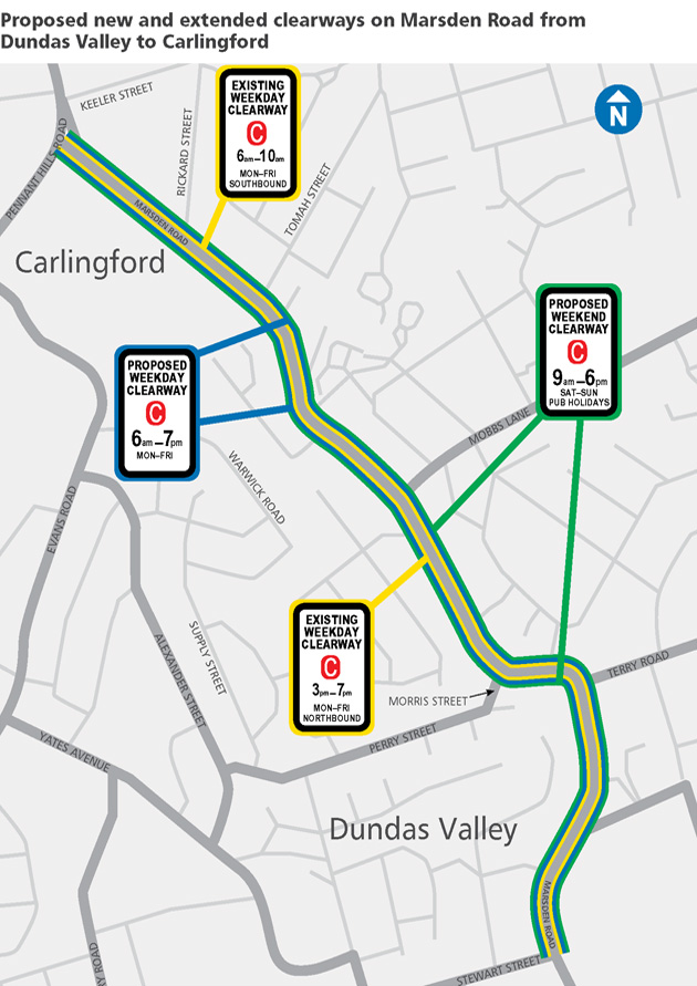 Map showing the location of the new and extended clearways along Marsden Rd between Dundas Valley and Carlingford