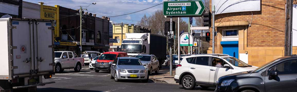 The Gardeners Road and Botany Road intersection at Mascot