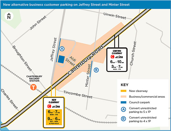 Jeffrey Street and Minter Street – Canterbury shopping strip clearways map