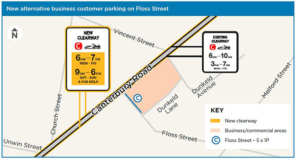 Floss Street – convert five unrestricted parking spaces into 1P parking spaces clearways map