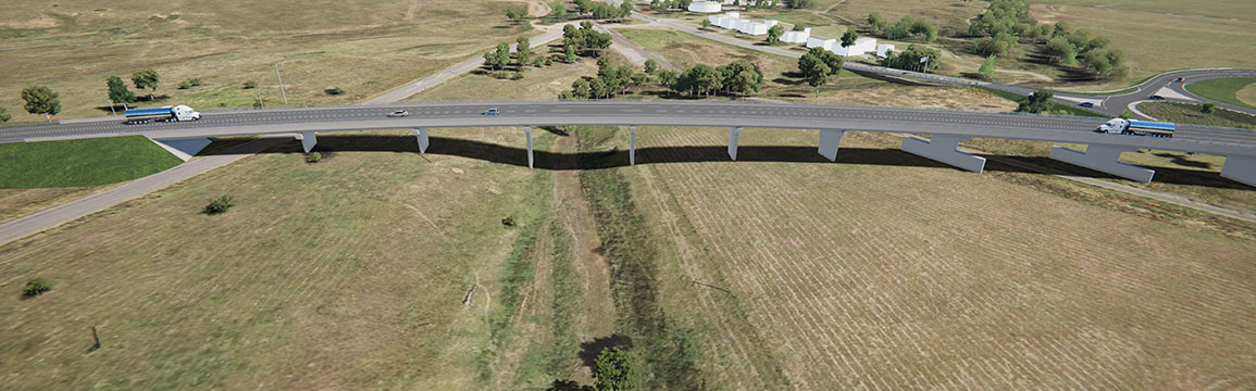 Artist impression of the proposed Muswellbrook Bypass southern connection, looki