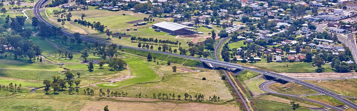 Aerial view of New England Highway bypass of Scone