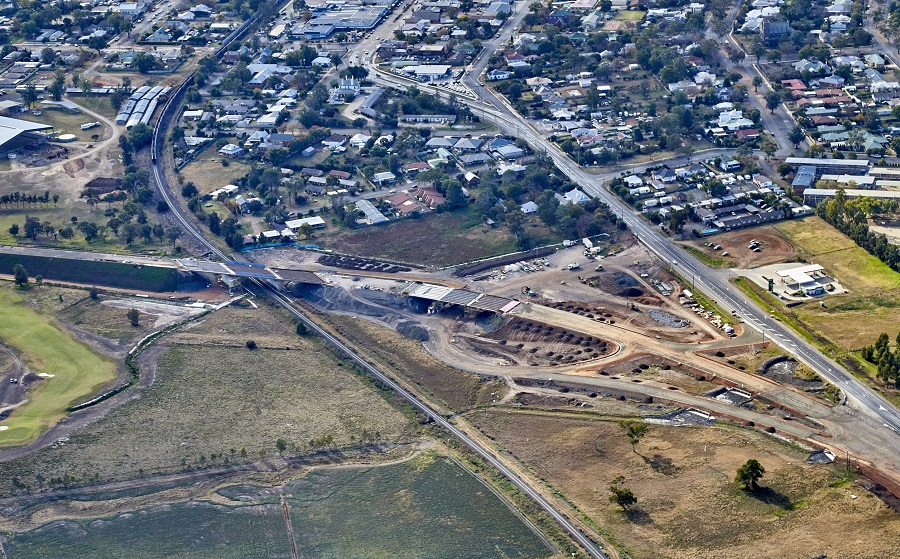 Aerial view north of the southern interchange and rail bridge overpass with all girders installed -