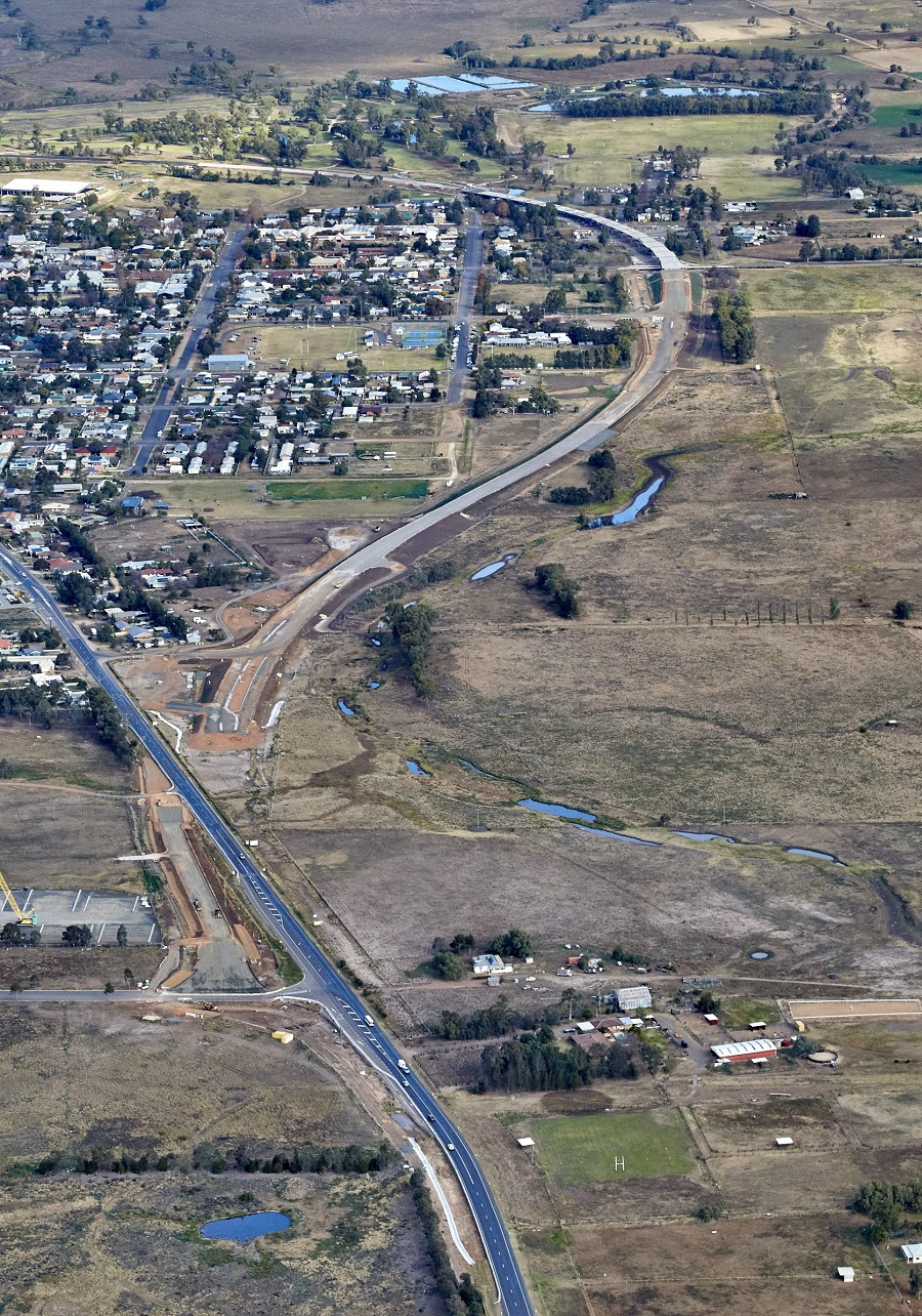 Aerial view from the north looking south showing the existing New England Highway and the bypass