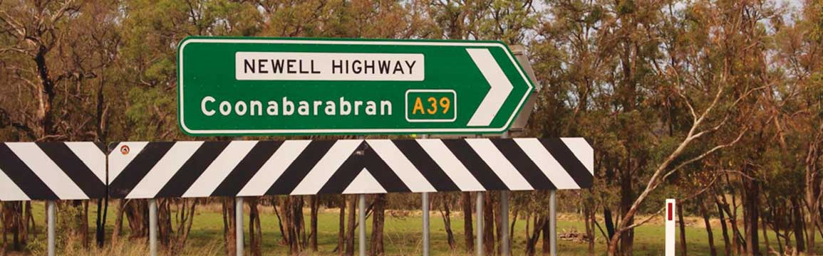 Newell Highway sign at Coonabarabran