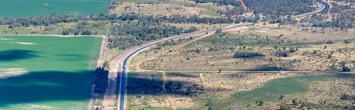 Aerial view of Newell Highway, Mungle Back.
