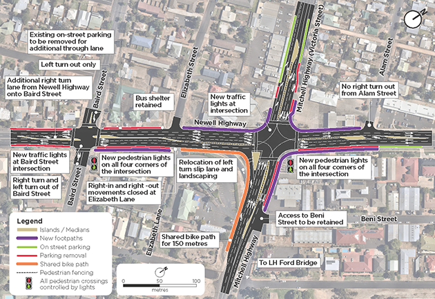 View the proposed Newell Highway and Mitchell Highway intersection upgrade.