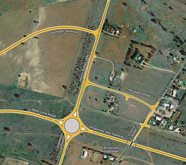 Design concept for a 4-way roundabout at Condobolin Road
