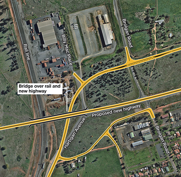 Concept design for the bridge over Hartigan Avenue and the Broken Hill and Parkes to Narromine rail lines