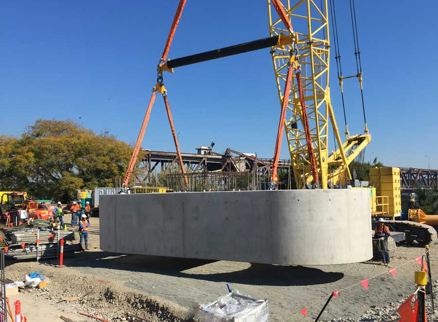 Marine pile skirt relocated to river bank in preparation for lifting onto marine piers (Sept 2017)