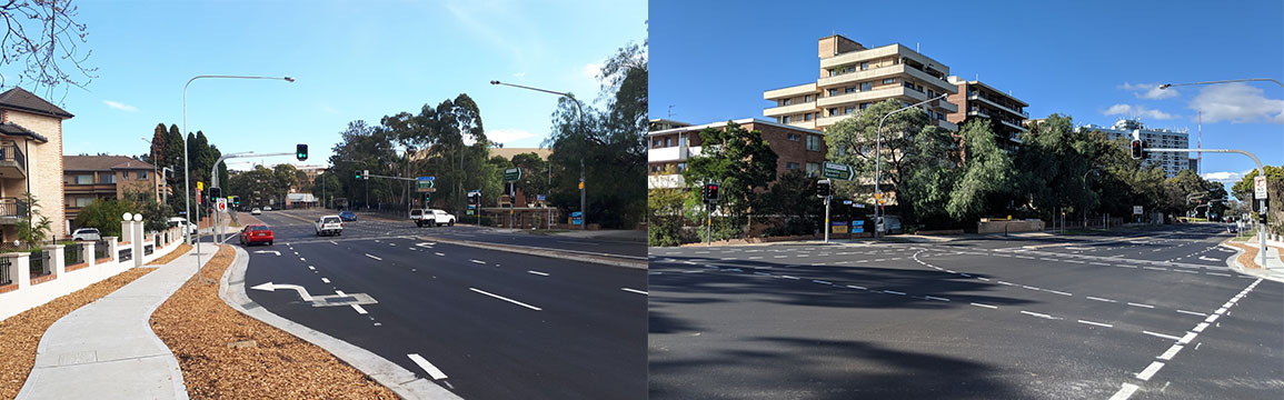 Completed intersections of Great Western Highway, Pitt Street & Marsden Street.
