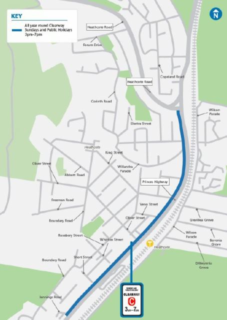 Map showing the location of the new and extended clearways along the Princes Highway at Heathcote.