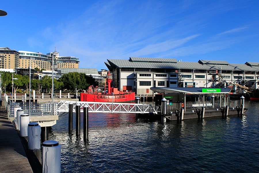 The new Pyrmont Bay Wharf, viewed from land and showing the gangway approach.