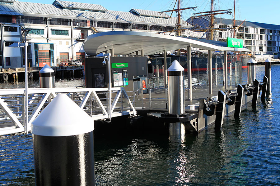 The new Pyrmont Bay Wharf, viewed from land and looking along the gangway approach.