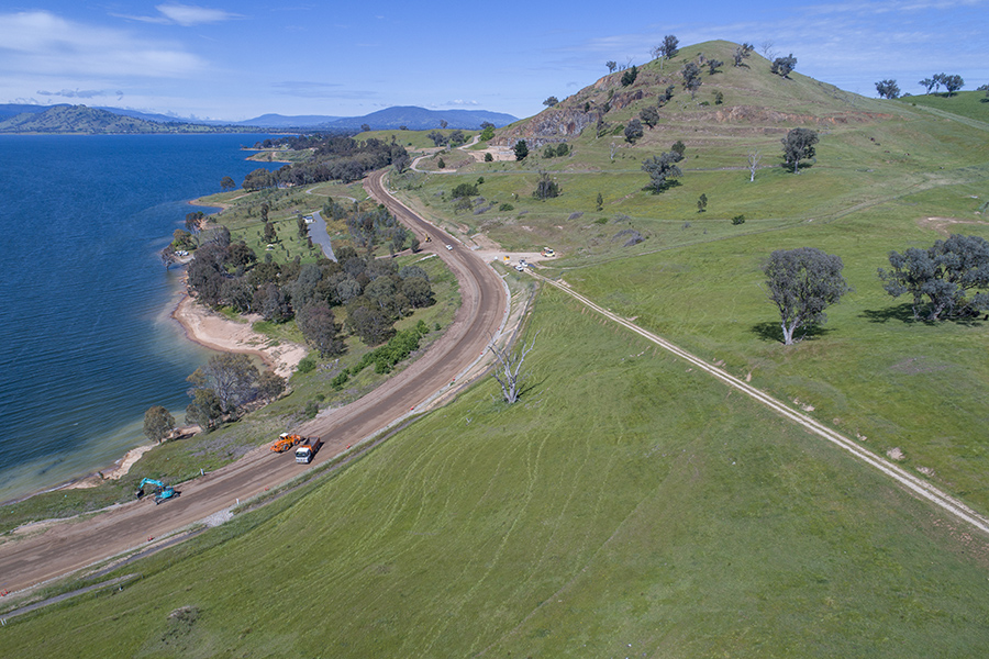 Aerial view of stage two work between Lake Hume Village and Bethanga Bridge