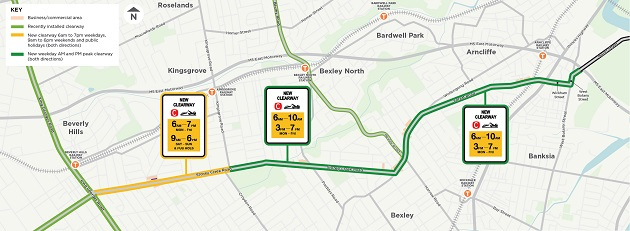 New and extended clearways on Stoney Creek Road and Forest Road