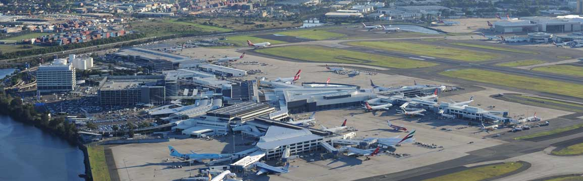 Aerial view of Sydney Airport