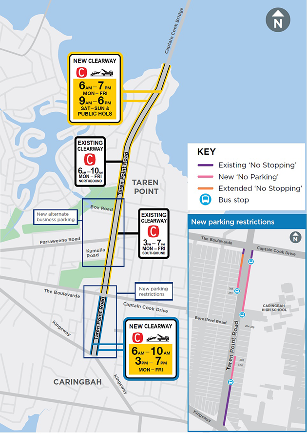 Taren Point Road clearways map