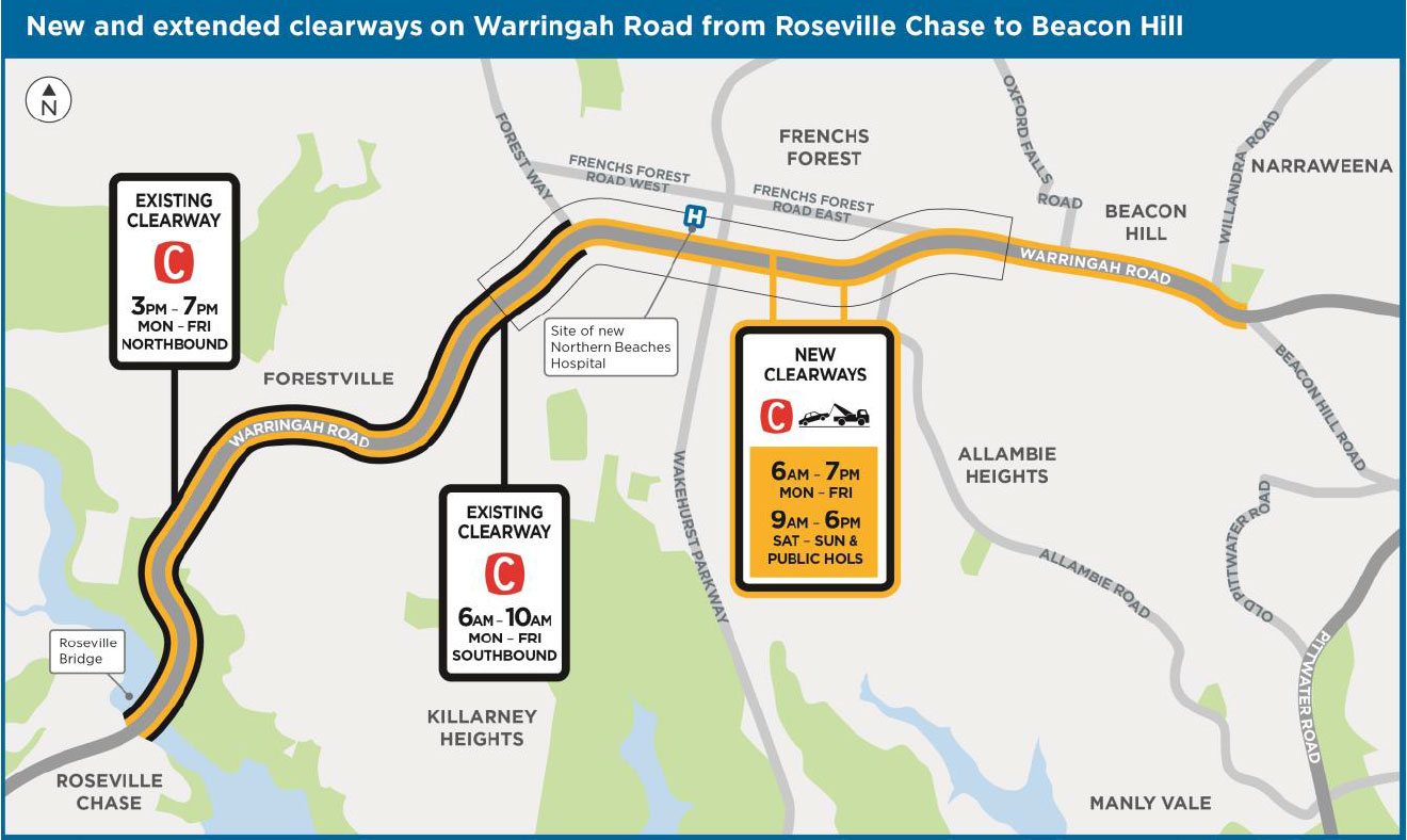 Clearways map