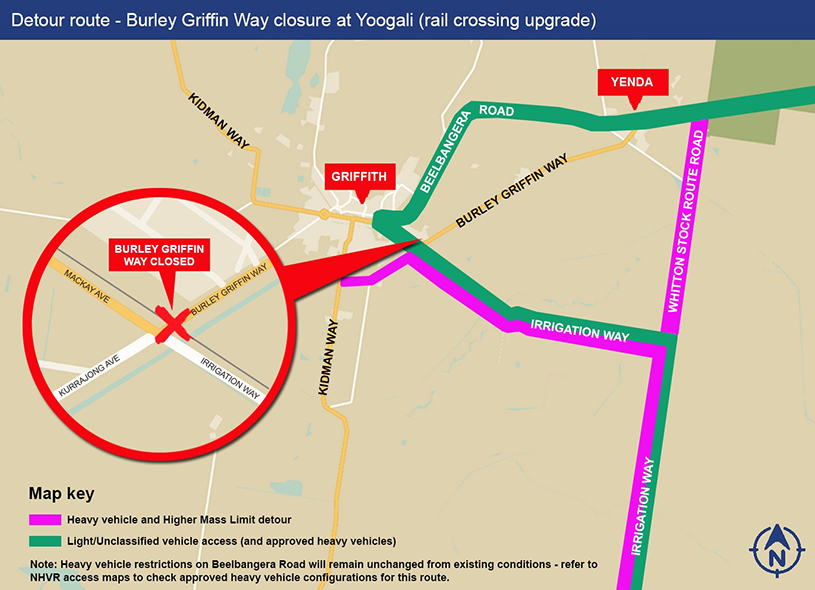Detour route - Burley Griffin Way closure at Yoogali (rail crossing upgrade)