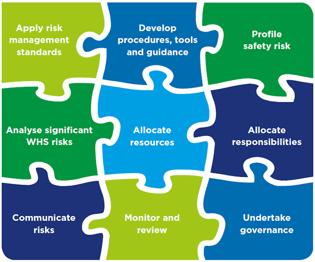 Diagrammatic representation of the WHS risk management activities described on this page, shown as interlocking jigsaw pieces.